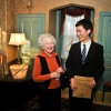 Gene (Mrs. George) Rochberg congratulates Kevin Li on a performance of her husband's Four Short Sonatas